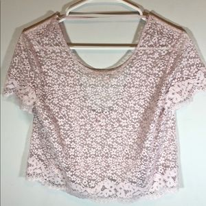 Tops - Victoria's Secret Baby Pink Floral Lace Shirt